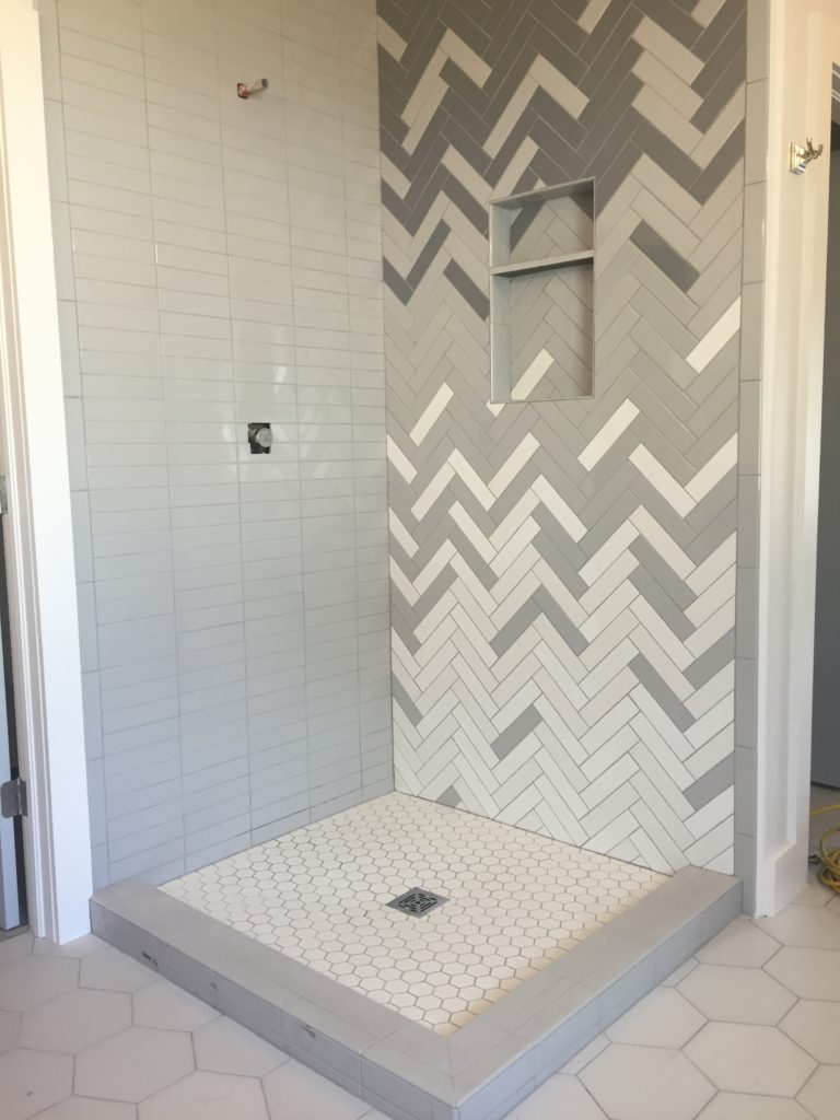 How to: Ombre Herringbone Shower – CBC Builds